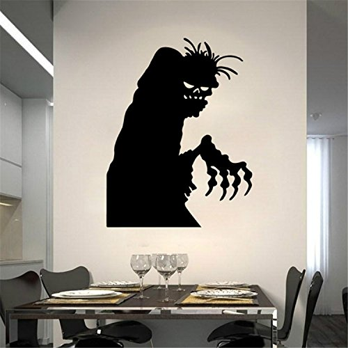 Yanqiao Black Scary Ghost with Hidden Bitterness and Resentment in Her Eyes Artistic Design for Halloween Showcase and Party Decor Removable and Waterproof Wall Decal Stickers