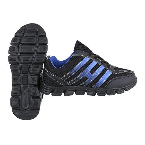 Zapatos para mujer Zapatillas Plano Zapatillas altas Ital-Design Negro Azul EL20024-1