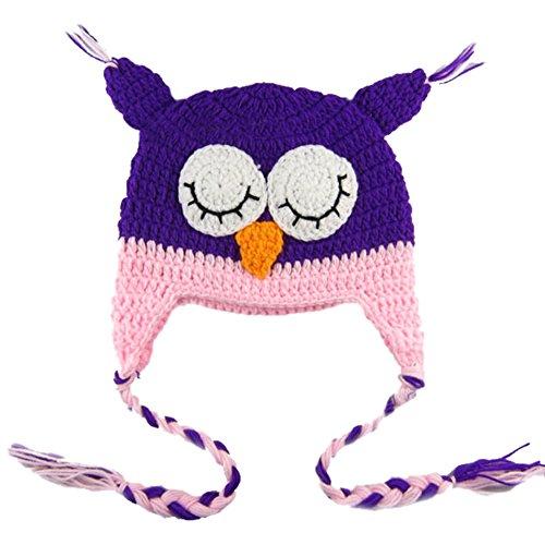 Yonger Cute Animal Owls Dinosaur Monster Crochet Knit Wool Toddler Earflap Cap Hat for Baby Kid Boys (Cute Monster Costumes For Girls)
