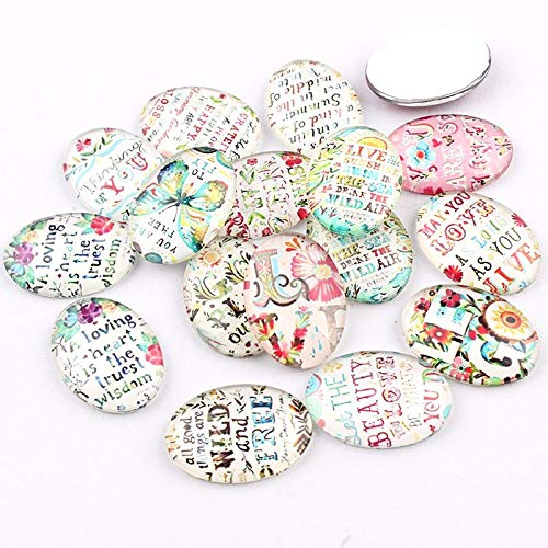 Dalas 1825mm Mixed Style Punk Oval Glass Cabochon Dome Jewelry Finding Cameo Pendant Settings 16pcs/lot - (Color: 13x18mm 20pc) ()