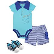 Hudson Baby Bodysuit, Cargo Shorts and Shoes Set, Anchor, 6-9 Months