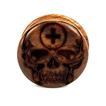 2 Piece Wooden Grinder Laser Engraved Crusher Weed Herb Spice Pollen - - Wide Skull and Cross