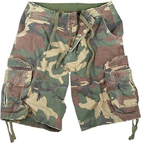 (Rothco Woodland Camo Infantry Vintage Military Cargo Utility Shorts, Large)