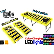 2-in-1 Cornhole Boards & Beer Pong Table w/Optional LED Glow Lights - Pittsburgh Football Field