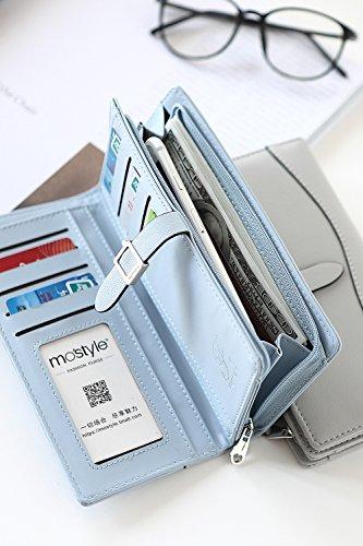 Simple Solid Zipper Hasp Design Ladies Wallets (Black) - 9
