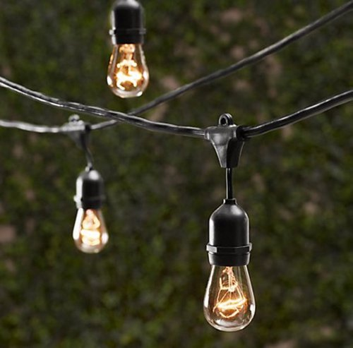 Amazon string light company vintage 48 ft outdoor commercial amazon string light company vintage 48 ft outdoor commercial string lights with 15 suspended sockets 14 gauge black cord bulbs not included aloadofball Images