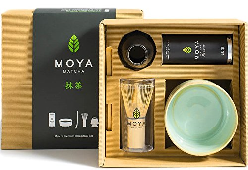 MOYA Set té Matcha Kit Especial. Pack Grado I Ceremonial + Chasen & Naosi + Chashaku + Chawan arcilla refractaria