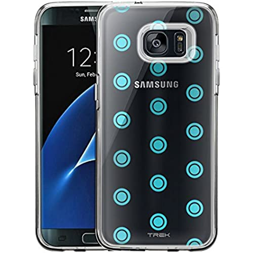 Samsung Galaxy S7 Edge Case, Slim Fit Snap On Cover by Trek Round Turquoise Dots Clear Case Sales