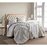 OSK 2 Piece Silver Pintuck Puckered Pattern Comforter Twin XL Set, Beautiful Stylish Pinch Pleated Plush Soft & Cozy Bedding, Microfiber Polyester, Shabby Chic French Country Style, Unisex