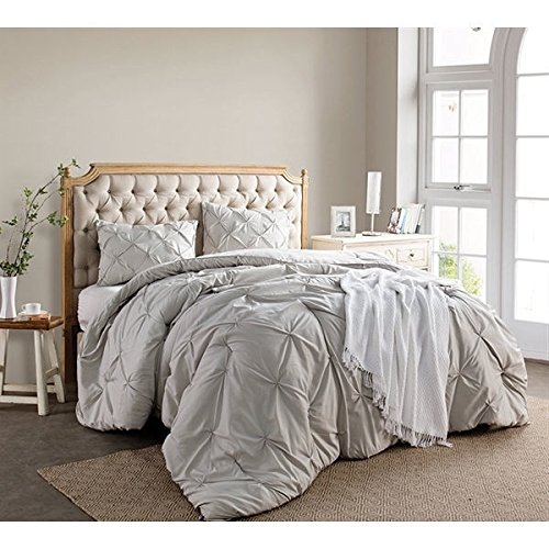 2 Pieces Beige Twin Xl Pintuck Puckered Shabby Chic Comforter Set, Light Brown Pinched Pleat Solid Color Diamond Tufted Teen Bedding Kids Bedroom Casual French Country, Microfibre Polyester