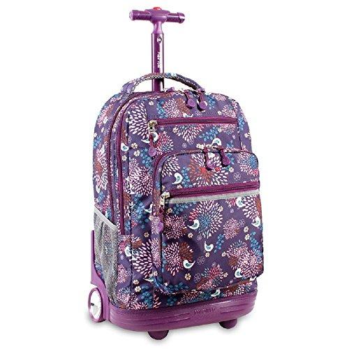 Purple Multi Kids Daisy Flowers Pattern Rolling Backpack ...