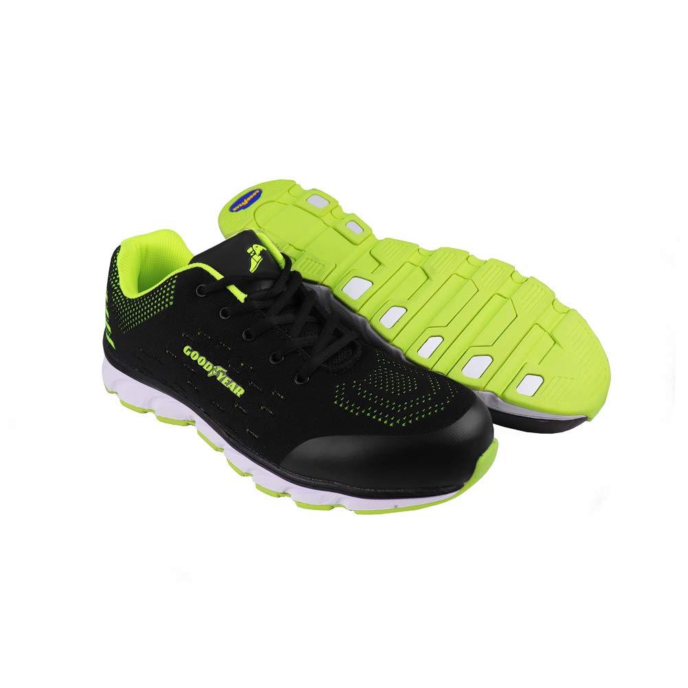 Goodyear Workwear GYSHU1571 - Zapatillas de seguridad para hombre (metal, sin compuesto), 10 UK, negro/verde, 1