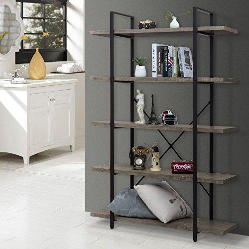 Ollieroo Rustic Vintage Bookcase Industrial Bookshelf, Grain Wood and Metal Shelves Furniture (5 Tier)
