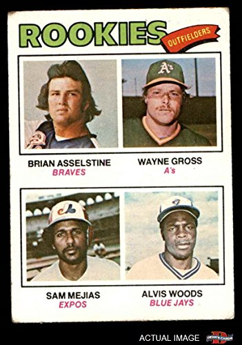 1977 Topps # 479 Rookie Outfielders Wayne Gross / Sam Mejias / Alvis Woods / Brian Asselstine Braves / Athletics / Expos / Blue Jays (Baseball Card) Dean's Cards 3 - VG Braves / Athletics / Expos / Blue Jays 1977 Rookie Card
