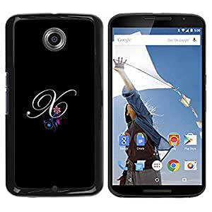 Be Good Phone Accessory // Dura Cáscara cubierta Protectora Caso Carcasa Funda de Protección para Motorola NEXUS 6 / X / Moto X Pro // Black Initials Letter Calligraphy Text
