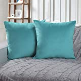 Phantoscope Set of 2 Soft Cozy Velvet Throw Pillow Solid Square Cushion Cover Turquoise 18