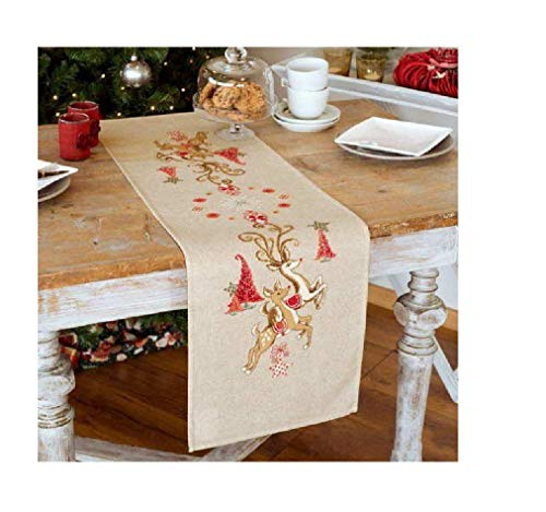 Christmas Table Runner ,Long Napkin, pre-Stamped Counted Cross Stitch Kits,145x38cm Egyptian Cotton Floss, Linen Fabric with Water Soluble Printing Cross Stitch Pattern, Cotton Table Runner Christmas