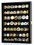 Military Challenge Coin Display Case Cabinet Holder Wall Rack w/ UV Protection -Black