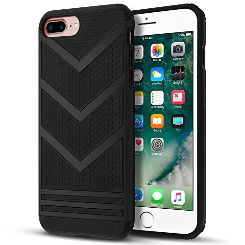 Iphone 7 Plus Case  Iphone 8 Plus Case  Loev Non Slip Slim Fit  Stylish Design   Double Protection  Anti Scratch Soft Rubber Bumper Protective Cover For Apple Iphone 7 8 Plus 5 5    Black Chevron