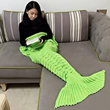 Mermaid Blanket Girls Crochet Mermaid Tail Blanket Knitting Sleeping Bag Handcraft for Kids Knitted Mermaid Tail Blanket for Adult and Kids (Green)