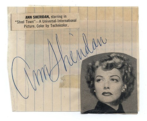 Actress Ann Sheridan (d.1967) Cut Signature