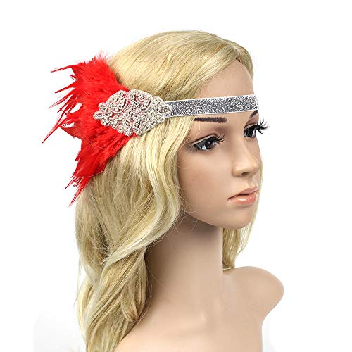 Gatsby 1920s Headpiece Stunning Roaring 20s Ostrich Feather Flapper Headband The Great Gatsby Fancy Dress Hair Accessories (Silver+Red)