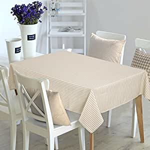 Deconovo Rectangular Tablecloths Water Resistant and Spill-proof Striped Design Table Cover Table Cloth for Parties 54W x 72L Inch White and Beige 2 Pieces