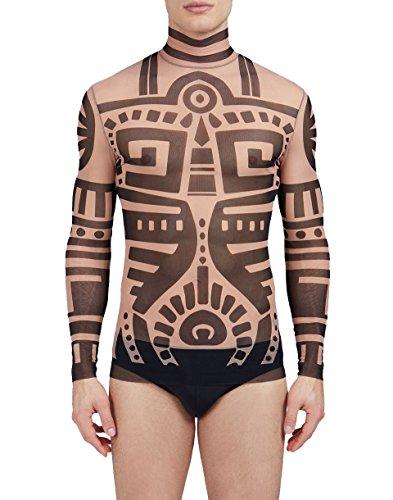 COOFANDY Men's Hip Hop Tattoo Tribal Maui Slim Nude Shirt by COOFANDY