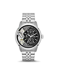Fossil Men's ' Mechanical Hand Wind Stainless Steel Casual Watch, Color:Silver-Toned