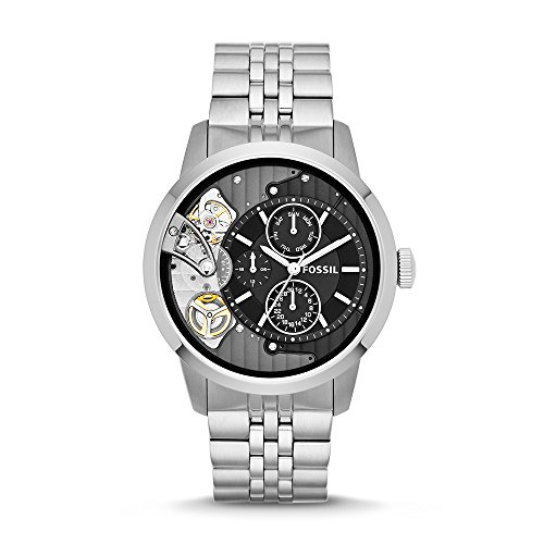 Fossil Men's ' Mechanical Hand Wind Stainless Steel Casual Watch, Color:Silver-Toned (Model: ME1135)