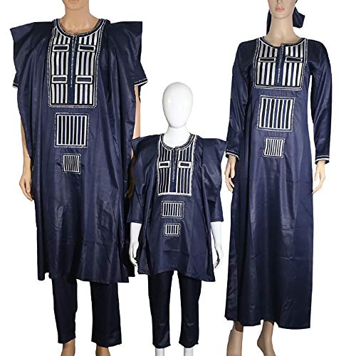 African Family Matching Outfits Clothes 3 Pieces Agbada Robe Daddy and Me Clothing for Man, Blue 4XL by H D (Image #1)