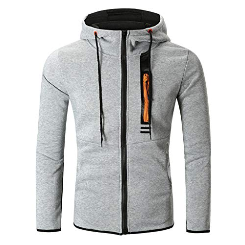 Sunhusing Mens Solid Color Drawstring Stitching Hooded Sweatshirt Side Zip Long-Sleeve Outwear Top