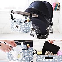 Ishowstore Stroller Organizer Diaper Bag Buddy Organiser Pushchair Organiser Bag With Wipes Case (White Bear)