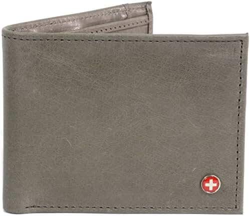 Alpine Swiss Men's RFID Blocking Genuine Leather Slim Bifold Wallet