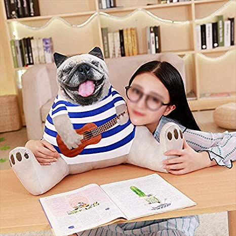 MOCOHANA Cartoon Dog Shaped Plush Lumbar Pillow Bedrest Reading Pillows Chair Backrest Cushion for Home and Office Gentleman Dog