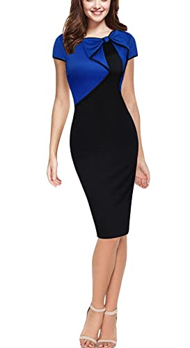 REPHYLLIS Women Cap Sleeve Bow-Knot Wear to Work Business Cocktail Pencil Dress