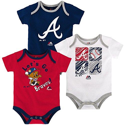 Atlanta Braves Baby/Infant Go Team 3 Piece Creeper Set 12 Months