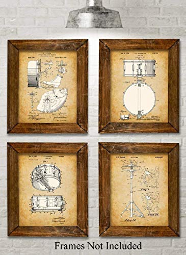 Original Drums Patent Art Prints - Set of Four Photos (8x10) Unframed - Makes a Great Gift Under $20 for Drummers ()