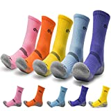 5Pack of Women's Multi Performance Cushion Outdoor Hiking Crew Socks | Mountain Biking,Trekking | Moisture Wicking | Year Round (Small (Shoe size 6-8 US), 5 Pack- Orange/Yellow/Purple/Sky Blue/Pink)