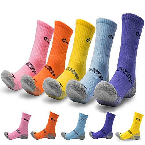 - 5Pack of Women's Multi Performance Cushion Outdoor Hiking Crew Socks | Mountain Biking,Trekking | Moisture Wicking | Year Round (Medium (Shoe size 8-10 US), 5 Pack- Orange/Yellow/Purple/Sky Blue/Pink)