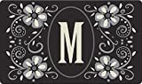 Toland Home Garden Classic Monogram M 18 x 30 Inch Decorative Floor Mat Flower Design Pattern Doormat