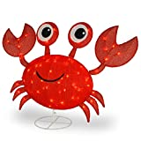 """CC Christmas Decor 48"""" LED Lighted Red Sisal Crab Outdoor Decoration"""