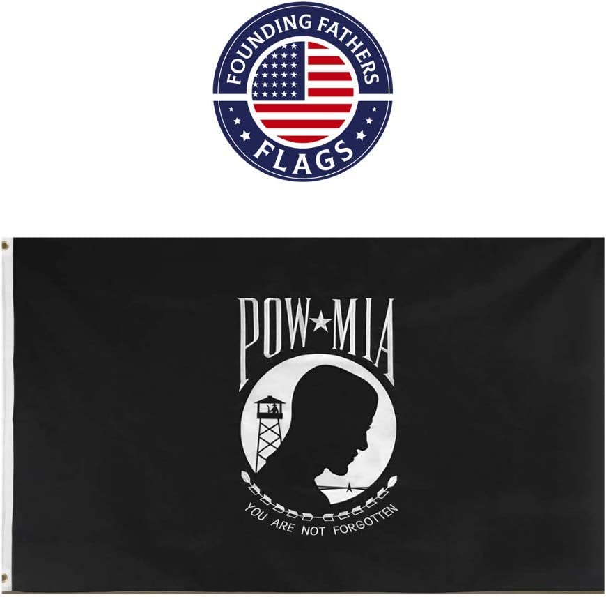 Founding Fathers Flags POW MIA Flag - Heroes Edition 3'x5' Oxford Polyester Embroidered - Perfect for Veterans, Home Decor, Events, etc!