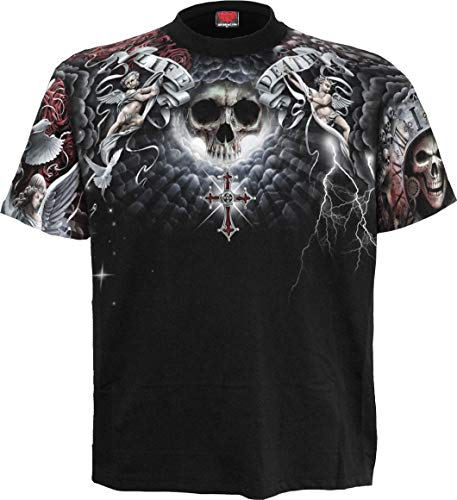 (Spiral - Life and Death Cross - Allover T-Shirt Black - XL)