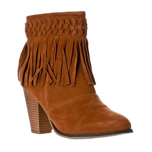 Boots Link Heel Tan Tassel Forever Fringe Womens Ankle 86 Camila Chunky Aqwz7q