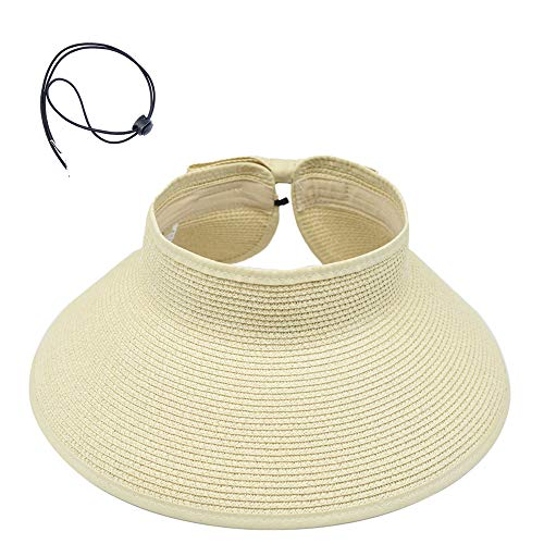 (2PCS Women's Sun Visors Foldable Straw Hats Summer Beach Packable Hat Floppy Wide Brim Cap Cute Bowtie Big Heads (Beige))