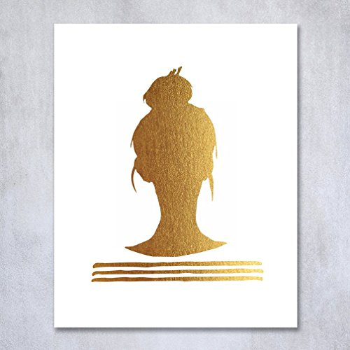 Free Top Knot Silhouette Gold Foil Decor Print Woman Bun Hairstyle Stripes French Chic Girly Office Poster Wall Art 5 inches x 7 inches