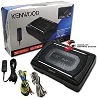 2 X Kenwood Car Under Seat Super Slim Powered Subwoofer Aluminum Enclosed
