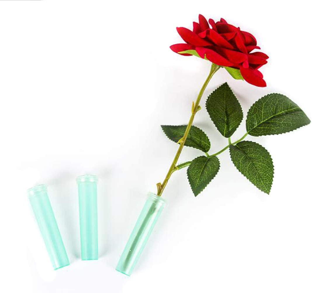 1Bag//100Pcs Clear Green Flower Water Tubes Plastic Floral Arrangements Vials Nutrient Water Cultivate Foundation Storage Container Hydroponic Plants Tool Accessories for Home Flower Shop 2.76inch
