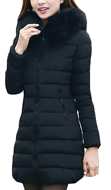 95fe3d2688 X-Future Womens Winter Zip-Up Faux-Fur Collar Quilted Down Jackets ...